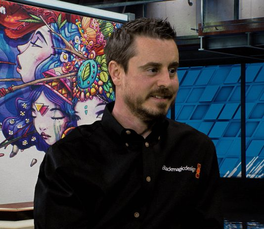 Blackmagic Design's Craig Heffernan during a live Waskul.TV interview in StudioXperience at the 2018 NAB Show