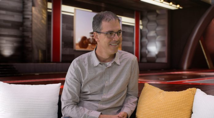 ILM's Rob Bredow in the new Waskul.TV 4K 60p Virtual Set powered by Unreal Engine at SIGGRAPH 2018 in StudioXperience powered by HP and NVIDIA